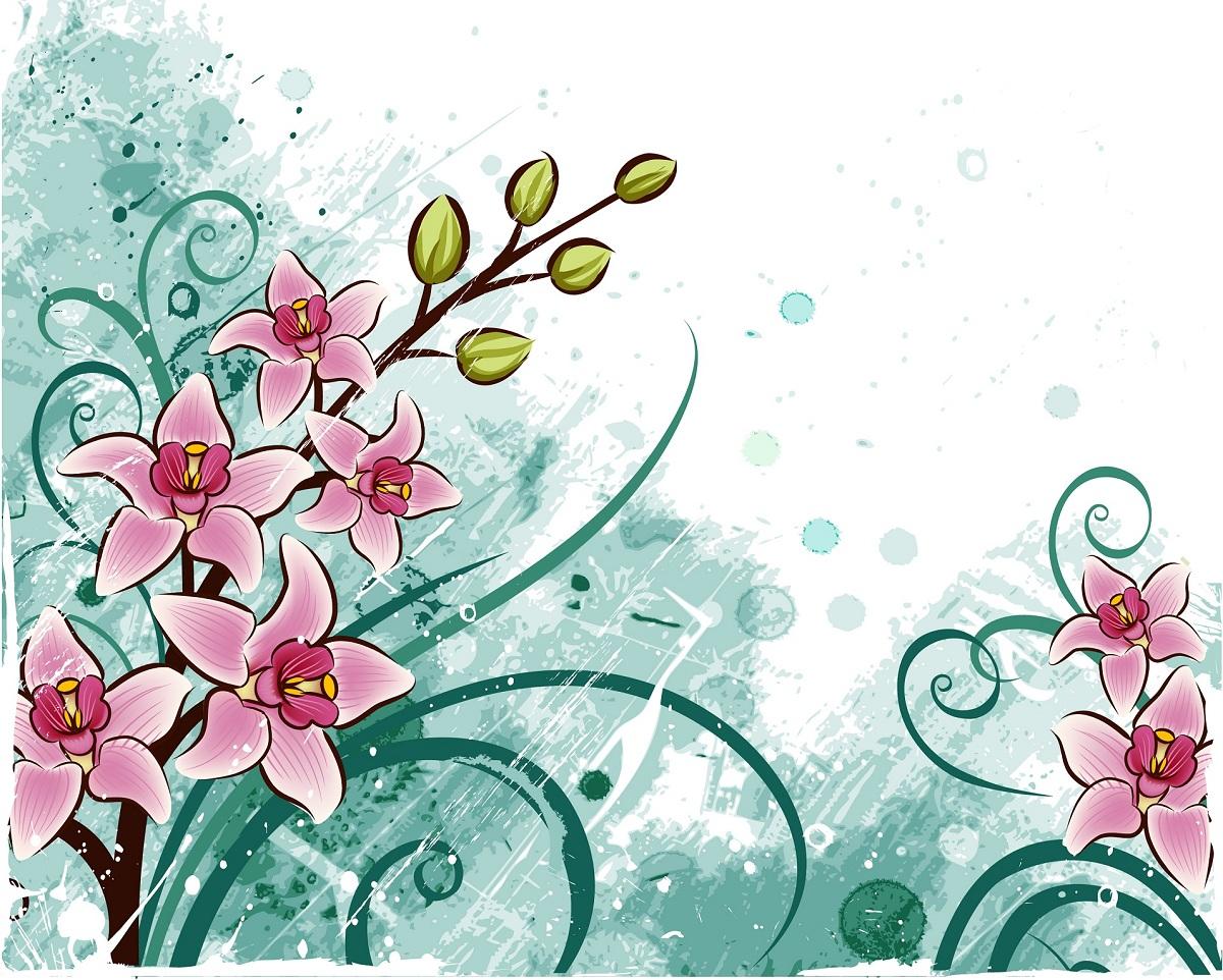 Цветы и открытка в векторе, днем